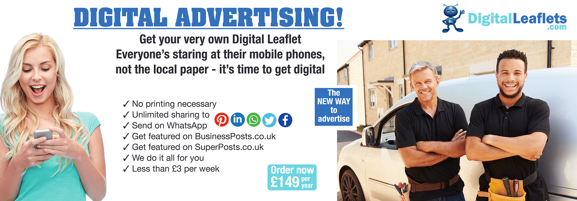 Digital Leaflets  ORDER yours now!  Less than £3 per week!